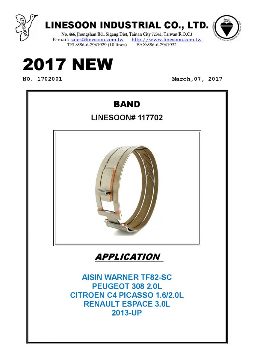 ROLLOUT- BAND- AISIN WARNER TF82-SC - LINESOON